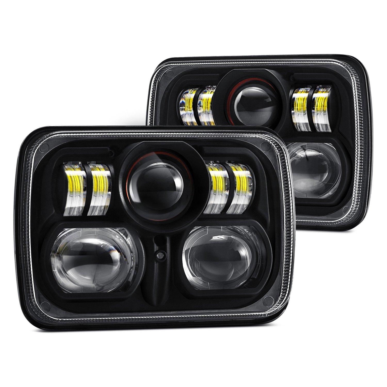 ford f 150 78 86 lumen 7x6 rectangular black projector led headlights 817201023321 ebay. Black Bedroom Furniture Sets. Home Design Ideas