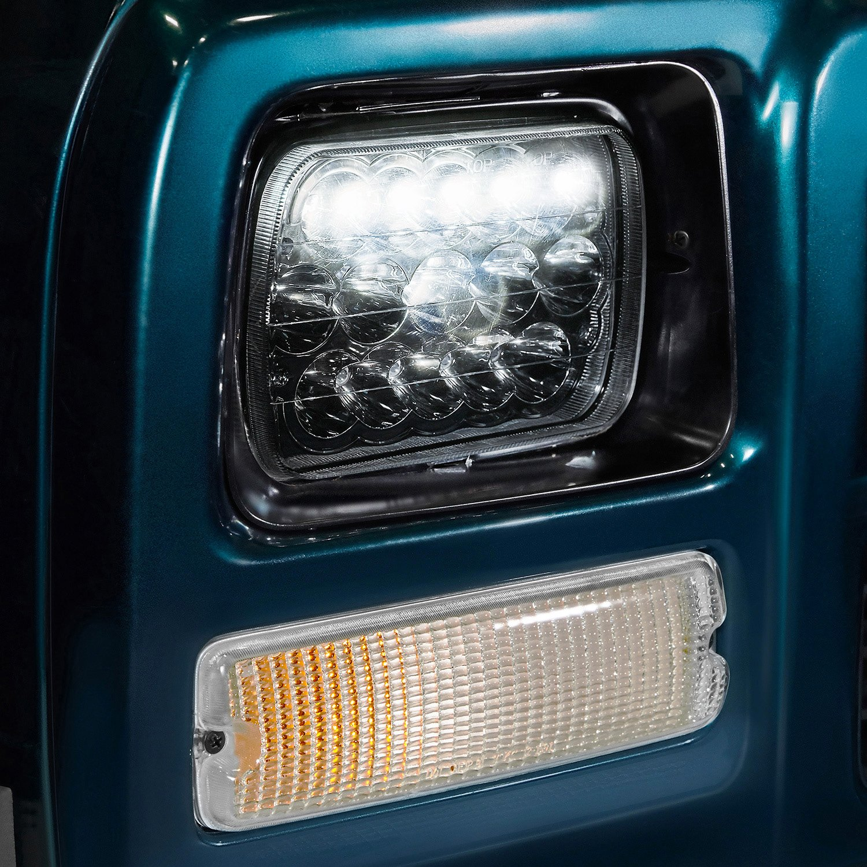 Lumen Sb7697hl Chr 7x6 Rectangular Chrome Led Headlights 1997 Gmc Suburban Headlight Wiring Harness Installed On A Dodge Ramcharger High Beam Light Onlumen Connector