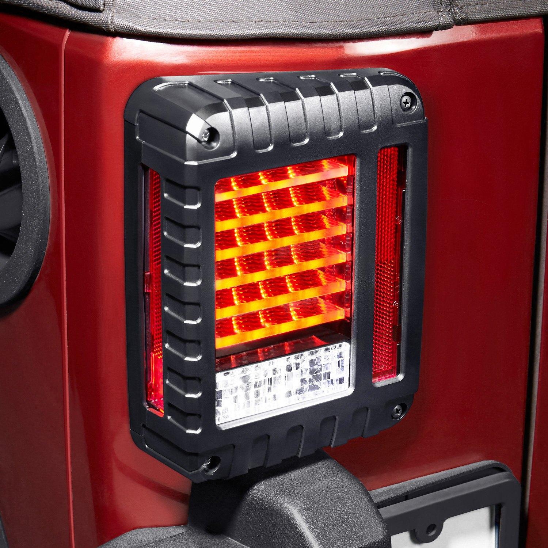 Lumen 174 Jeep Wrangler 2017 Black Fiber Optic Led Tail Lights