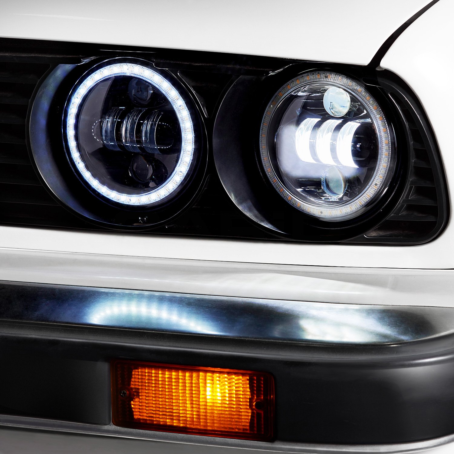 Lumen Sb5050ba Blk 5 3 4 Round High Low Beam Black Projector Led Headlights With Switchback Halo