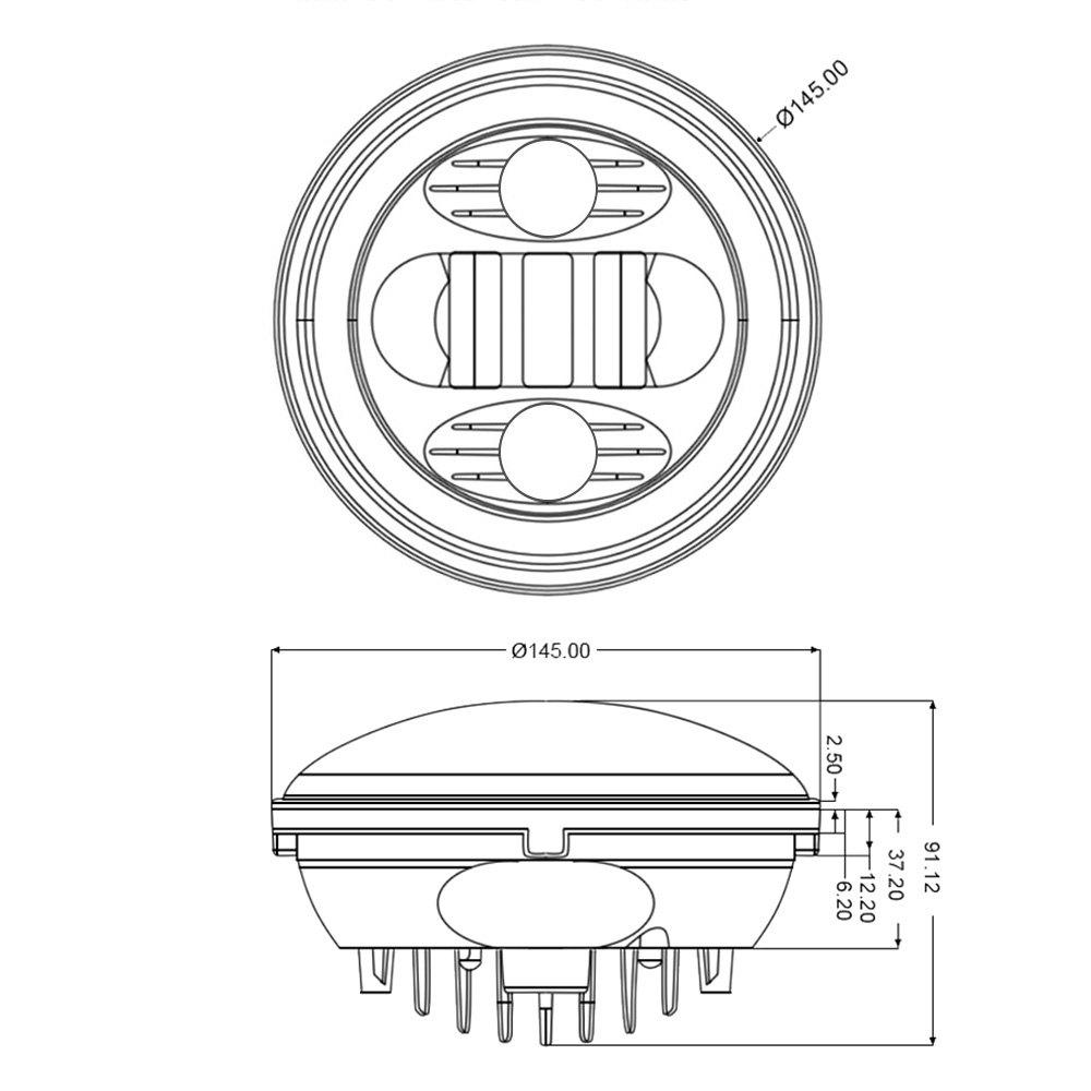 lumen® chrysler windsor 1958 5 3 4 round chrome projector led wiring connectorlumen® 5 3 4 round chrome projector led headlights switchback halo scheme