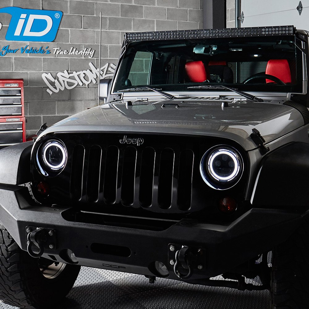 Halo Lights For Jeep Wrangler >> Lumen 7 Round Chrome Projector Led Headlights With Switchback Halo
