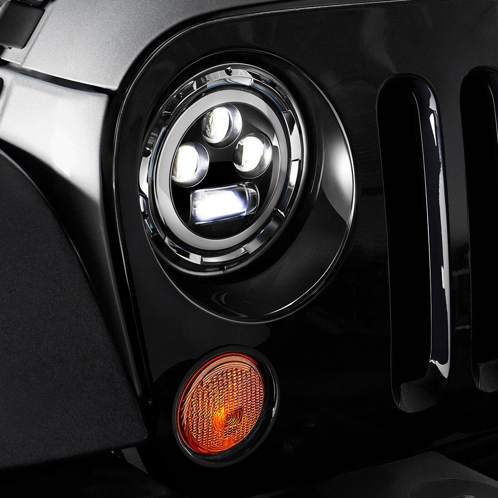 Lumen Sb7060xx Chr 7 Round Black Projector Led Headlights With 1978 Porsche 928 Fuse Box Switchback Halo