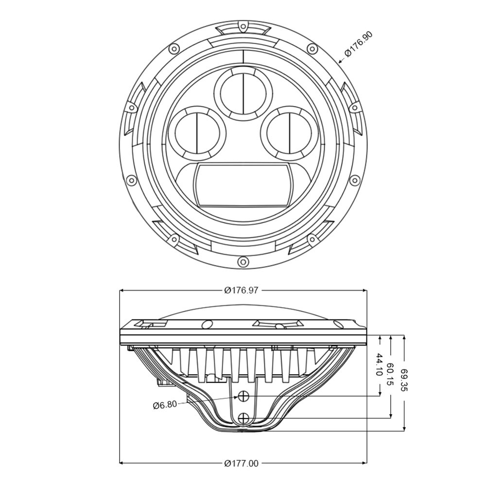 Lumen Jeep Wrangler 2007 7 Round Chrome Projector Led Headlights Halo Headlight Wiring Diagram With Switchback Installed On A High Beam Light Onlumen