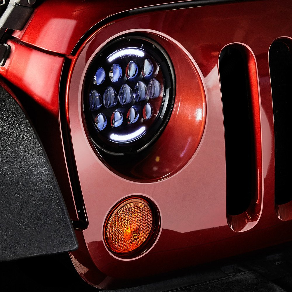 Lumen Sb7078ba Blk 7 Round Black Projector Led Headlights With Drl Wiring Daylight Running Lights Drls On A Caravan Installed Jeep Wrangler