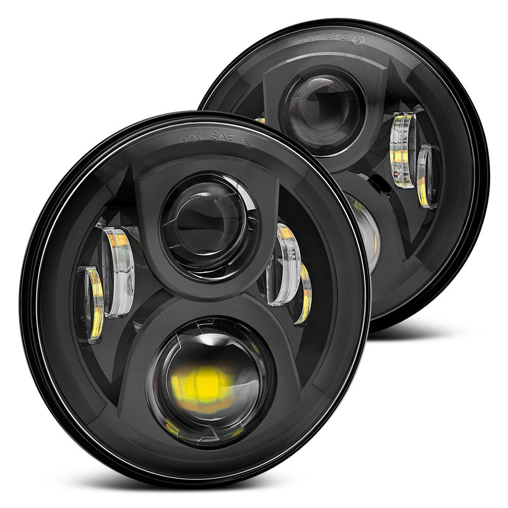 jeep wrangler 2007 2017 7 round black projector led headlights. Cars Review. Best American Auto & Cars Review