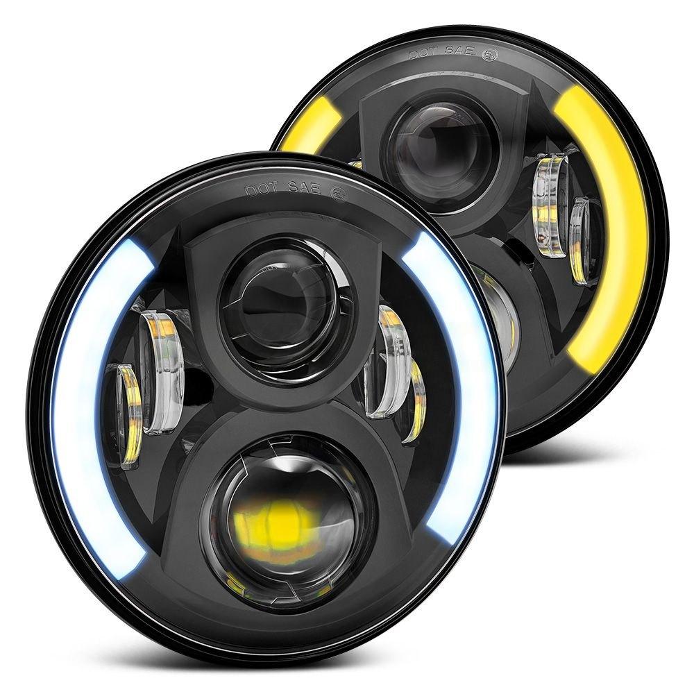 Lumen Sb7150fa Blk 7 Round Black Projector Led Headlights With Jeep Cj7 Subwoofer Switchback Halo