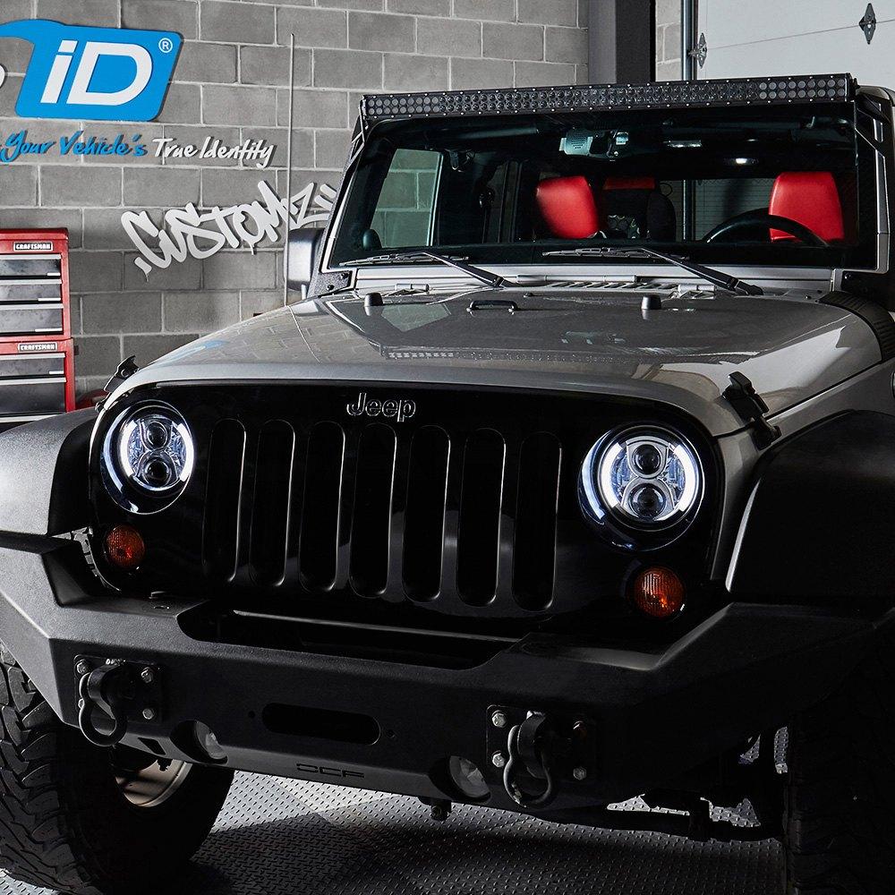 "lumen® - jeep wrangler 2007-2017 7"" round chrome projector led"