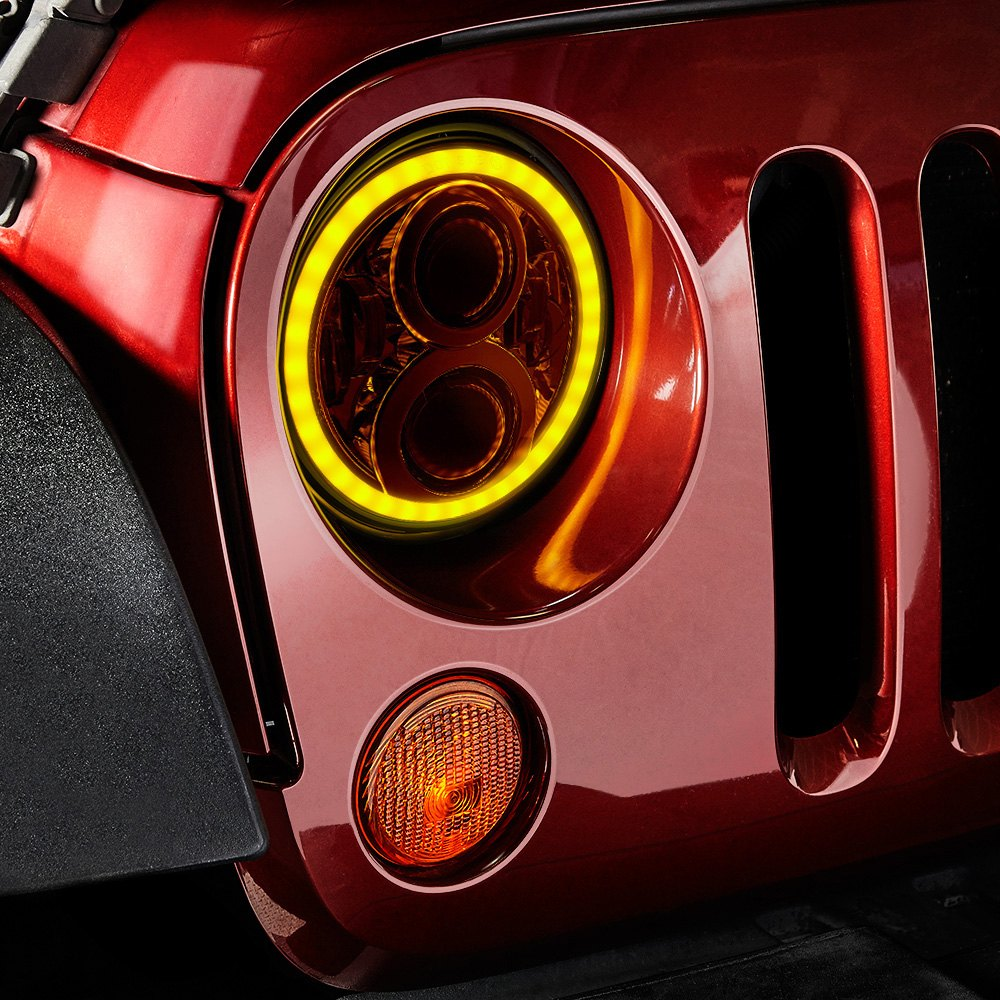 "... 7"" Round Black Projector LED Headlights with Switchback Halo Installed  on a Jeep Wrangler, Switchback Halo ..."