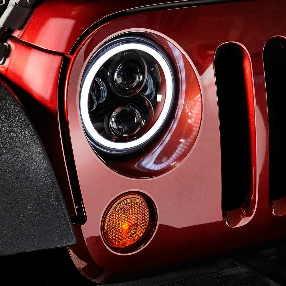 lumen jeep wrangler 2015 7 round black projector led headlights. Cars Review. Best American Auto & Cars Review