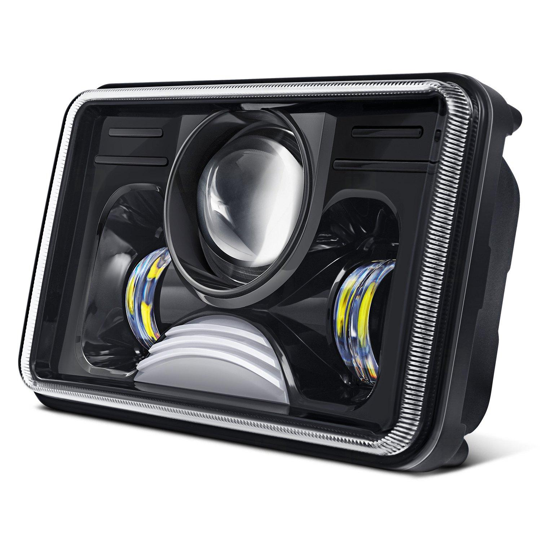 lumen sbf045xx blk 4x6 rectangular black projector led headlights. Black Bedroom Furniture Sets. Home Design Ideas