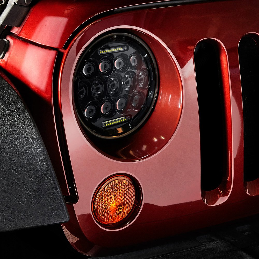 Lumen Jeep Wrangler 2013 7 Round Black Led Projector Headlights With Drl