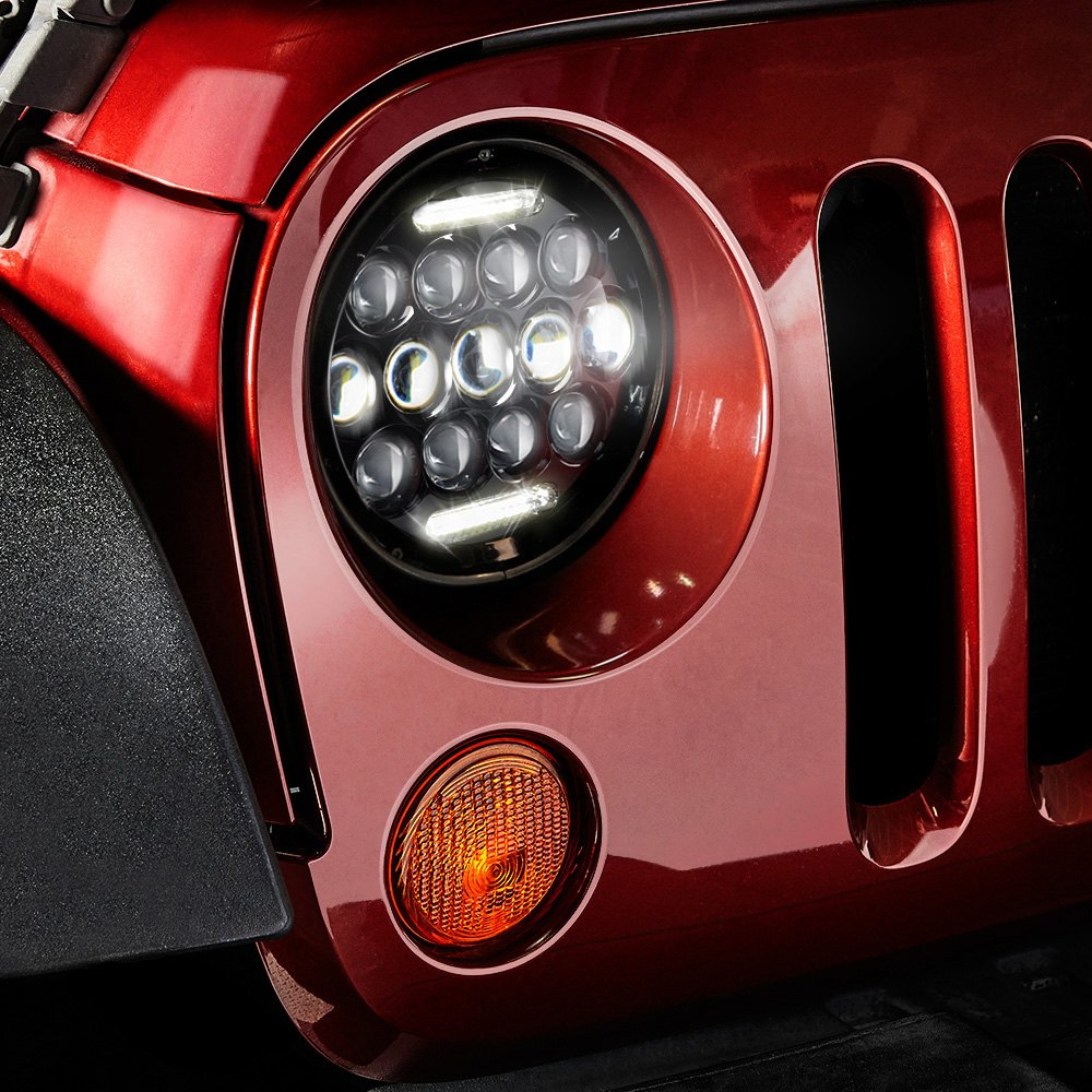 jeep wrangler 2007 2014 7 round black led projector headlights with. Cars Review. Best American Auto & Cars Review