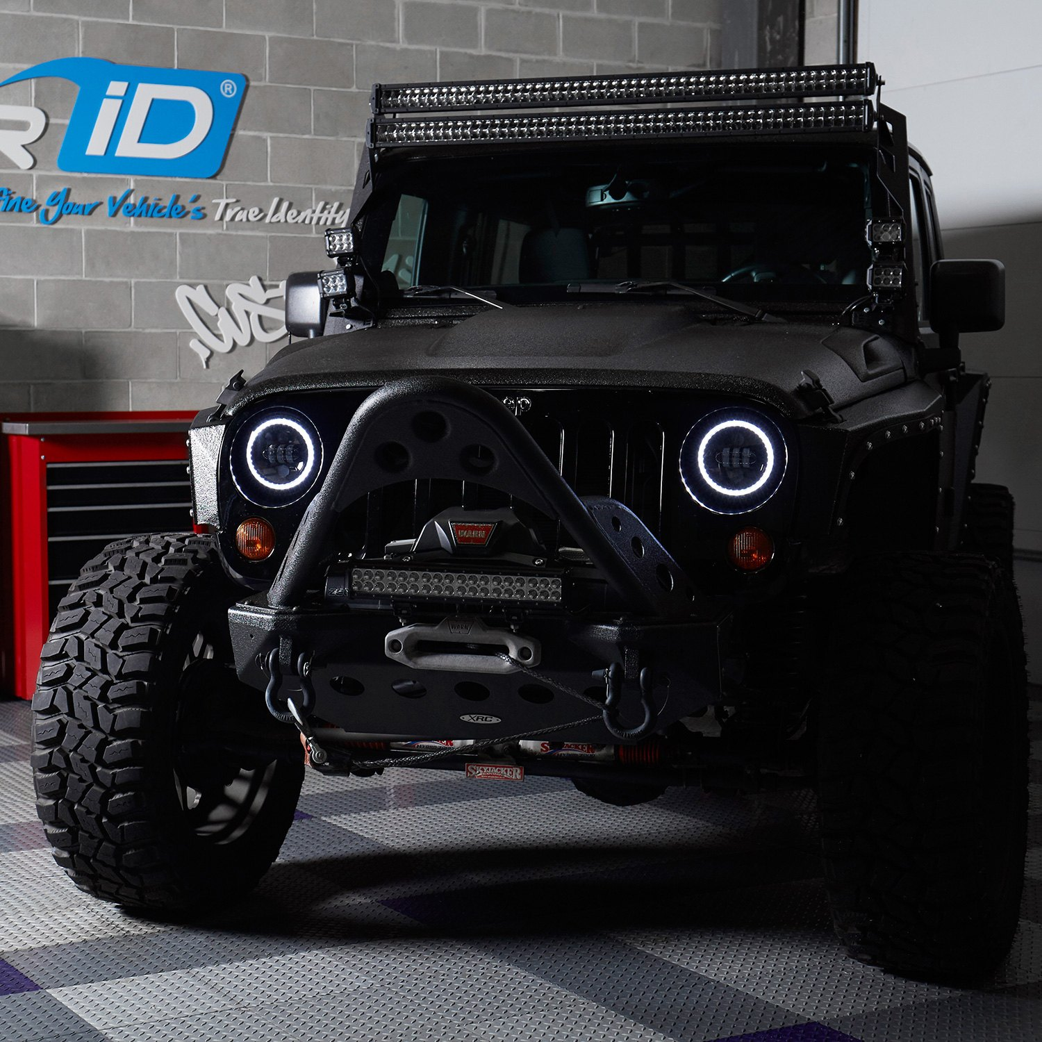 stk round a on with lid installed jeep wrangler projector switchback lumen led black headlights blk halo