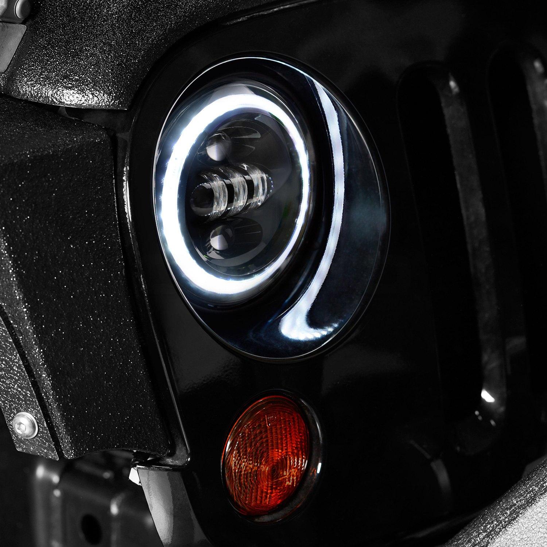 Lumen Jeep Wrangler 2013 7 Round Black Projector Led
