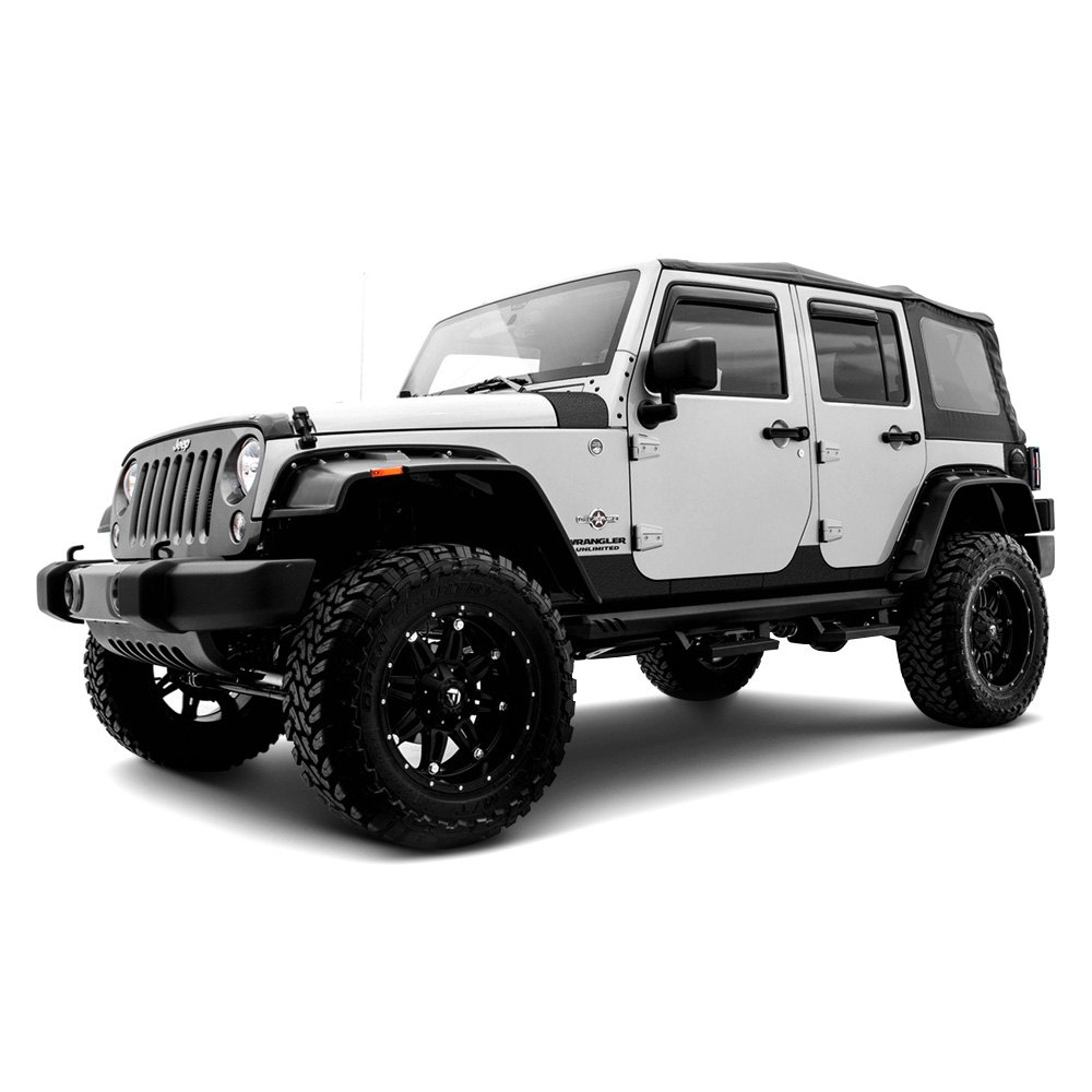 Lund jeep wrangler 2007 2017 rhino linings black small rocker guards for Rhino liner jeep exterior cost