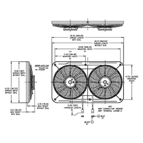 "maradyne�� jetstreme ii�""� low profile primary dual electric fan"