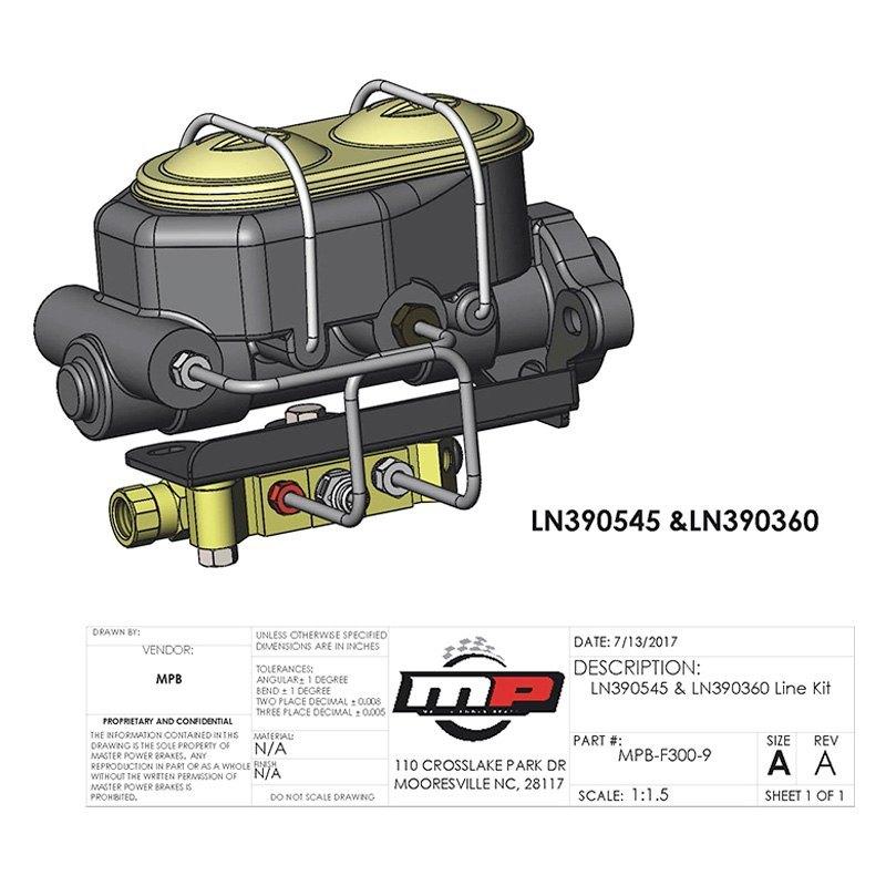 Master Power Brakes® LN390545 - Master Cylinder Line Kit