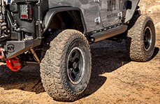 MICKEY THOMPSON® - CLASSIC BAJA LOCK Matte Black with Machined Flange on Jeep Wrangler