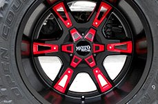 MOTO METAL® - MO969 Gloss Black with Red and Chrome Accents on Car