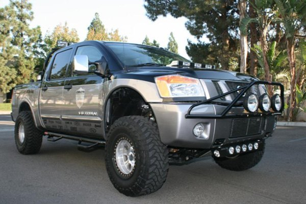 N fab nissan titan 2004 2013 pre runner style bumper light bar pre runner style bumper light bar for up to 3x9 round aloadofball Image collections