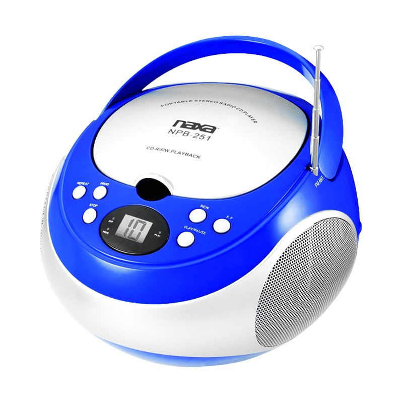 Naxa npb251bl portable blue cd player with am fm stereo - Mobile porta cd ...