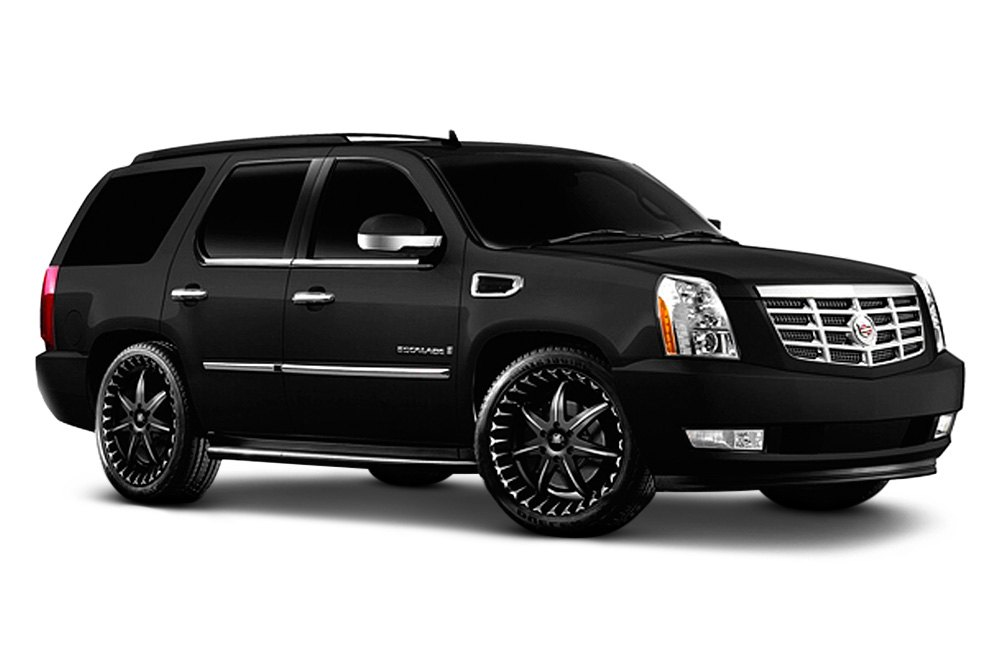 NOIR  174  - BLACK STAR Black with Machined Face and Lip AccentsWhite Escalade With Black Rims