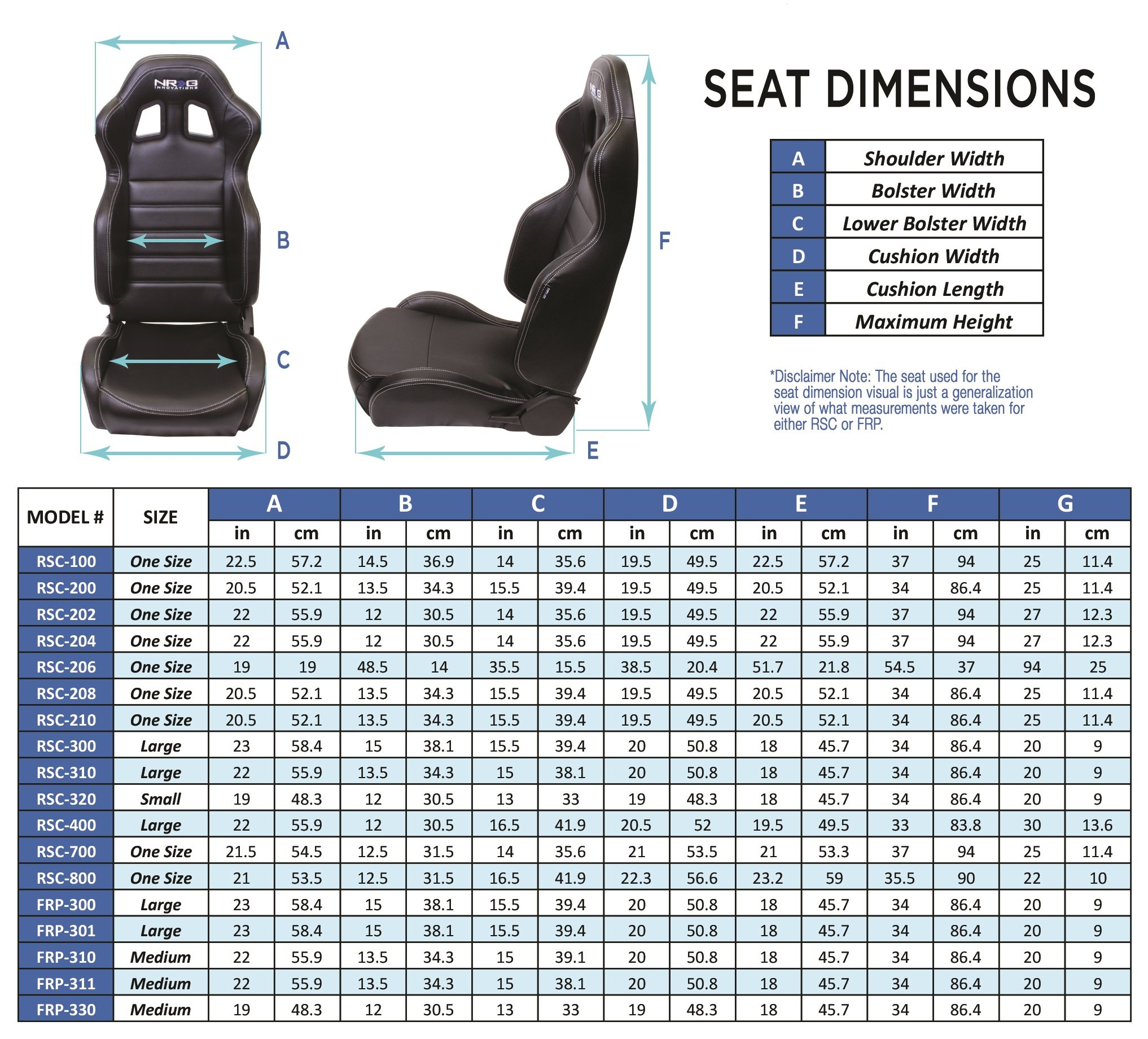 NRG Innovations® - Seat Dimensions Chart