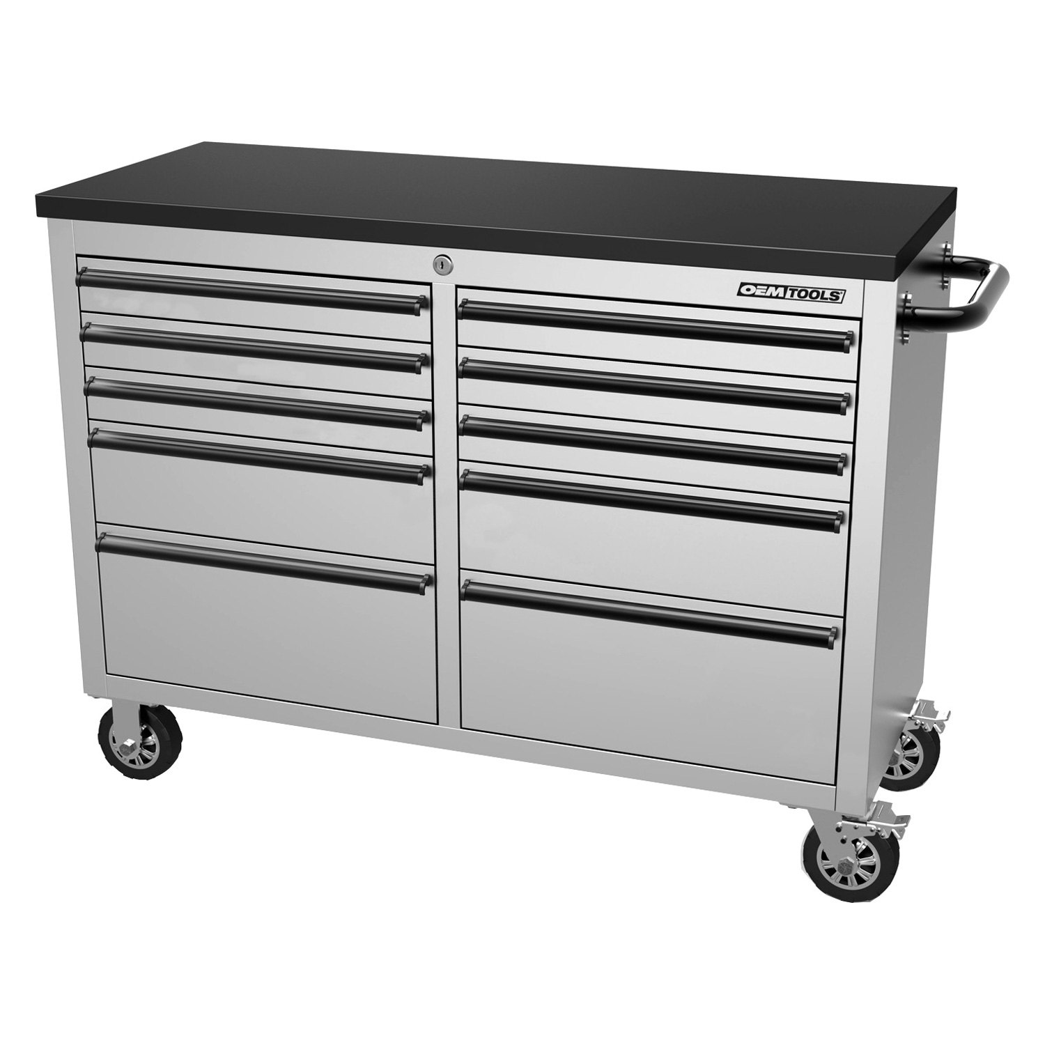 Oem tools 24614 stainless steel 46 10 drawer cabinet for Stainless steel cabinet door