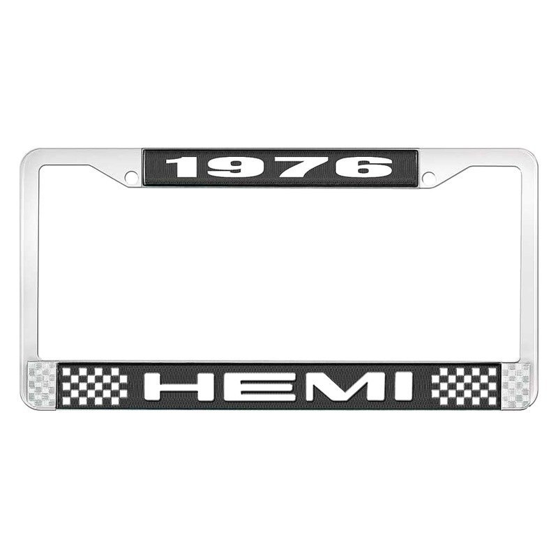 OER® - Dodge Charger 1976 License Plate Frame with White 1976 HEMI Logo