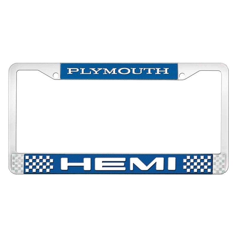 Blue Plymouth Hemi License Plate Frame