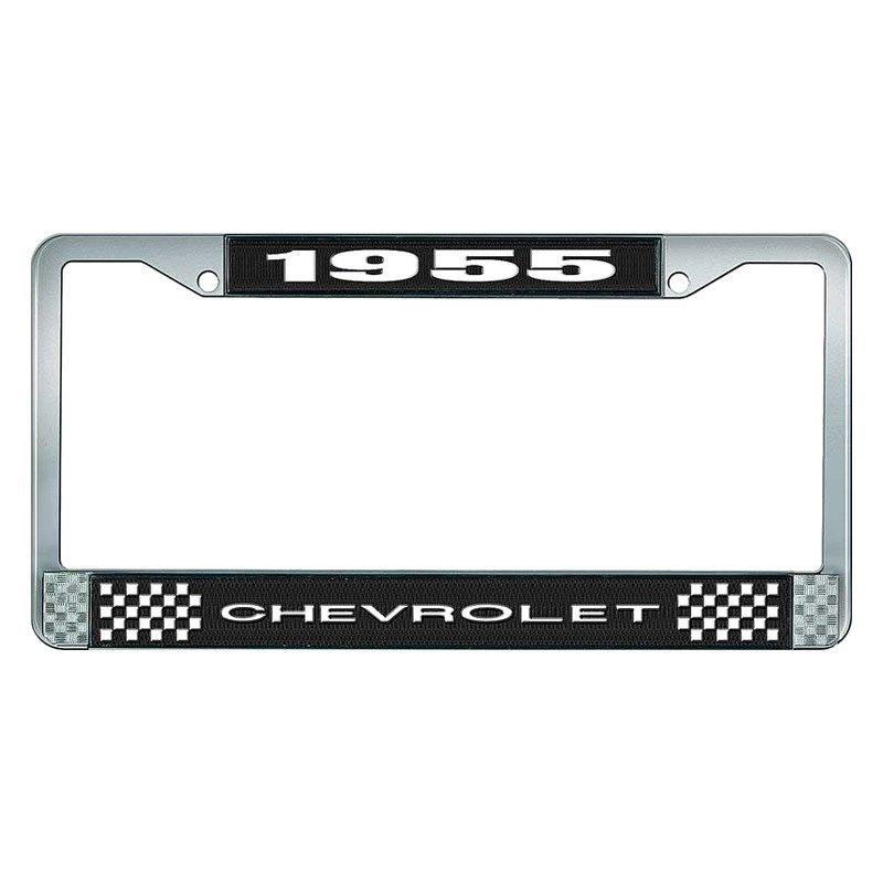 OER® - Chevy 210 1955 License Plate Frame with White 1955 Chevrolet Logo