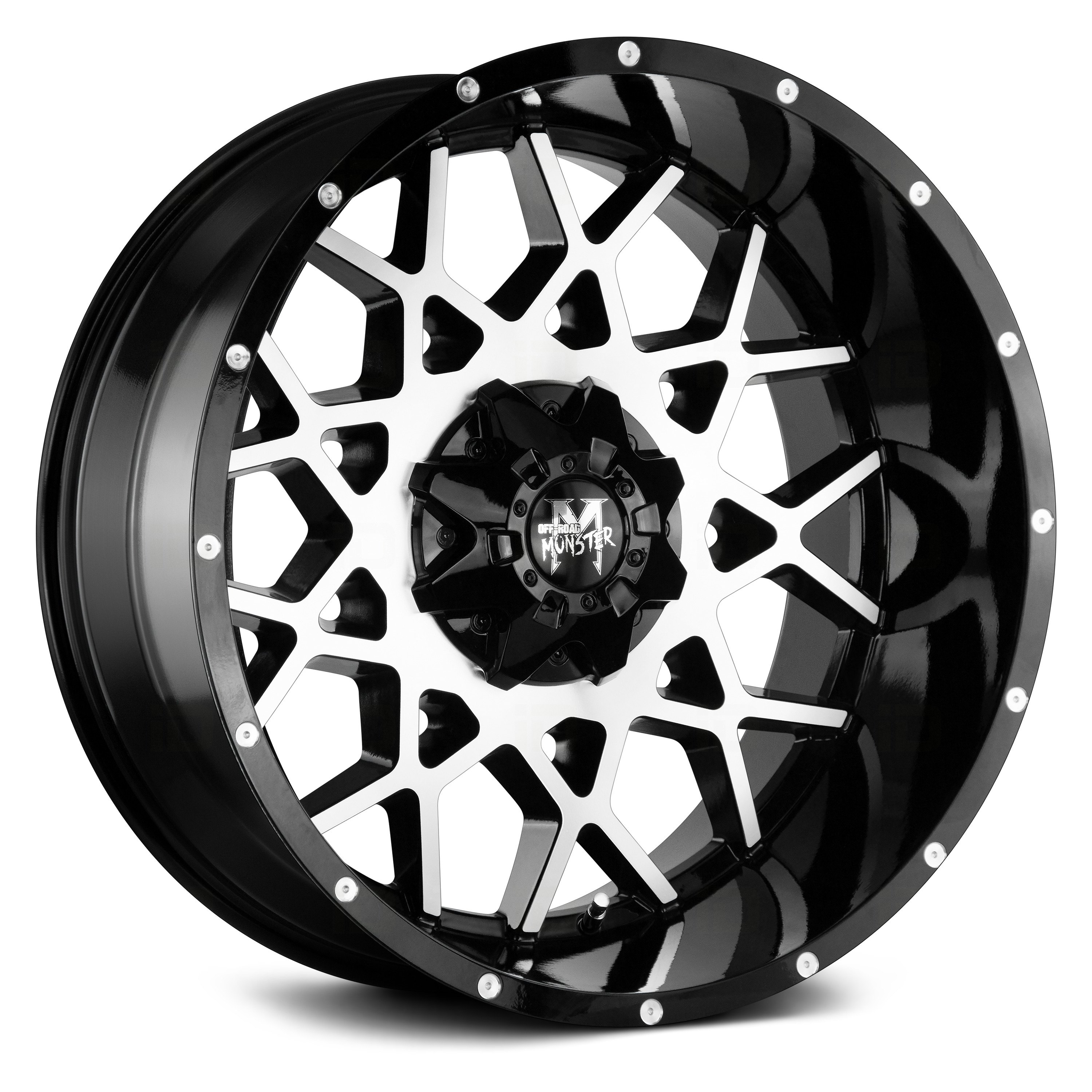 OFF-ROAD MONSTER® - M14 Gloss Black with Machined Face