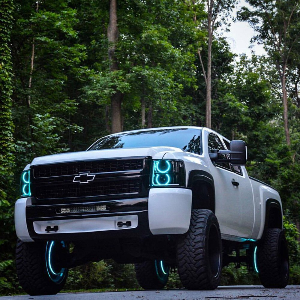 oracle lighting chevy silverado 2009 chrome factory style headlights with color halo. Black Bedroom Furniture Sets. Home Design Ideas