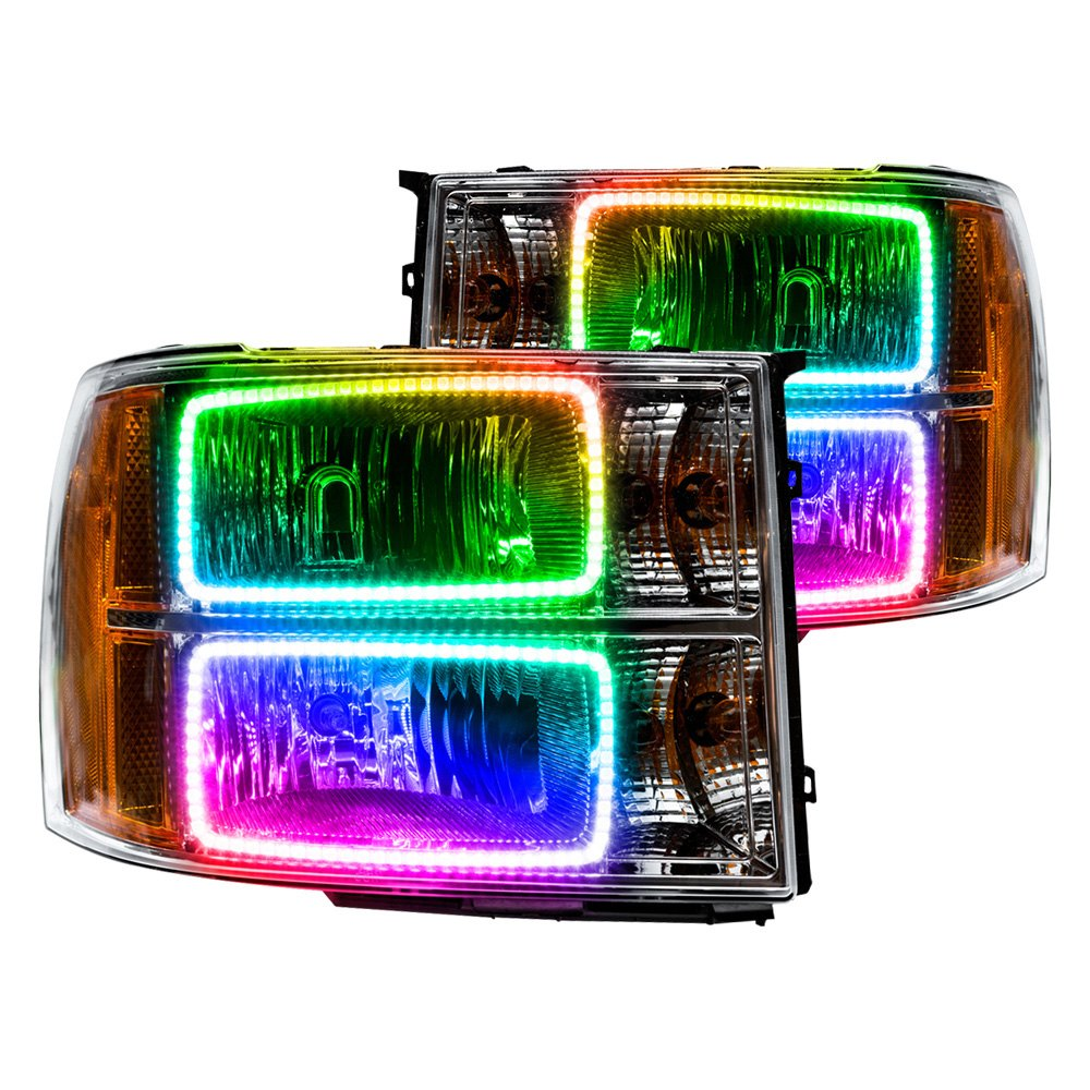 Oracle Lighting Chrome Factory Style Headlights With Colorshift 2 0 Smd Led Square Ring Halos