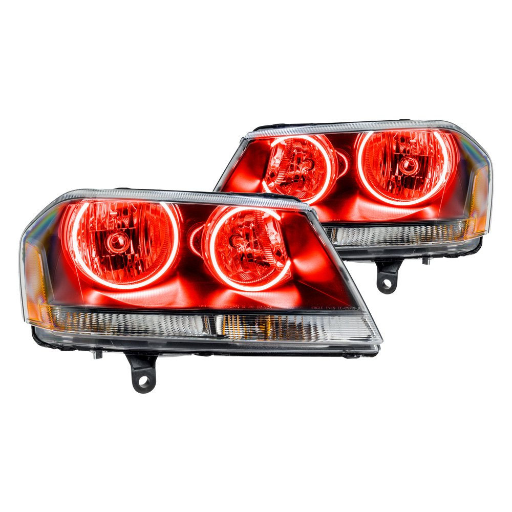 Oracle lighting dodge avenger r t 2012 black factory style headlights with color halo for 2012 dodge avenger interior lights
