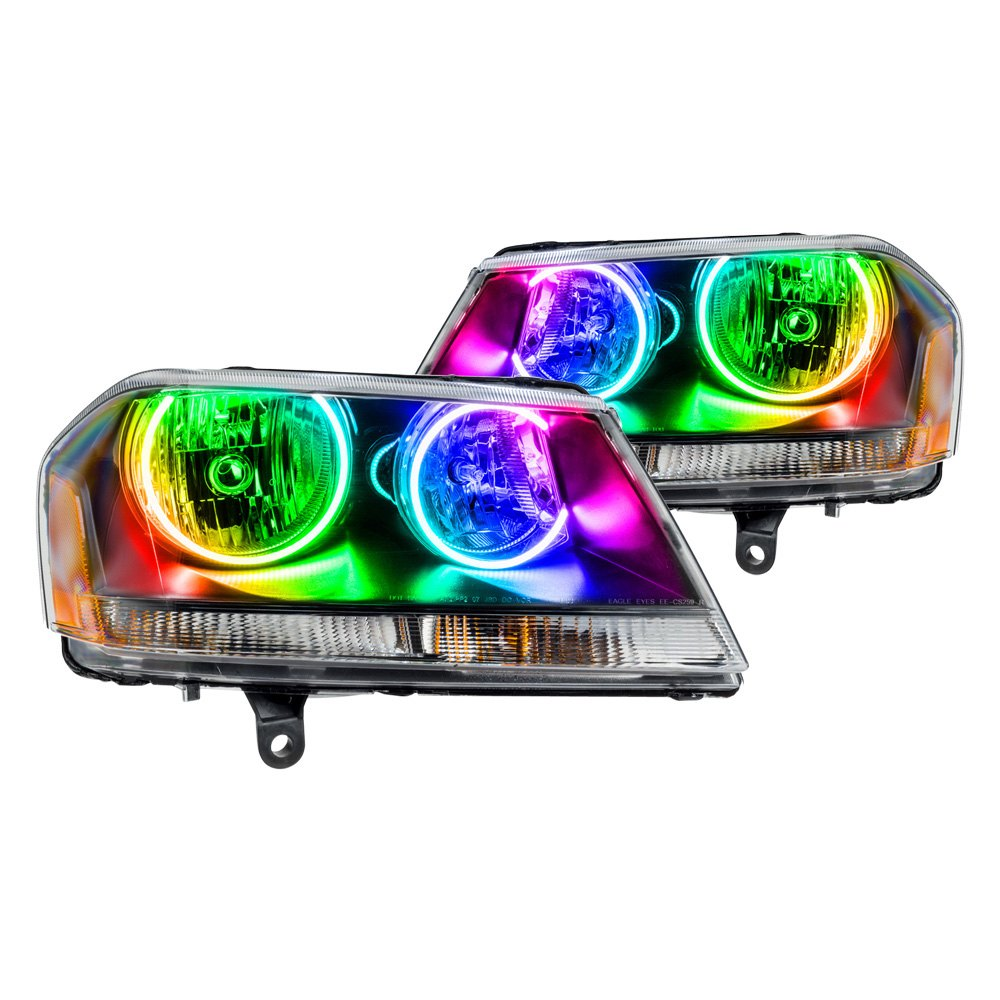 Oracle Lighting Dodge Avenger R T 2012 2013 Black Factory Style Headlights With Color Halo