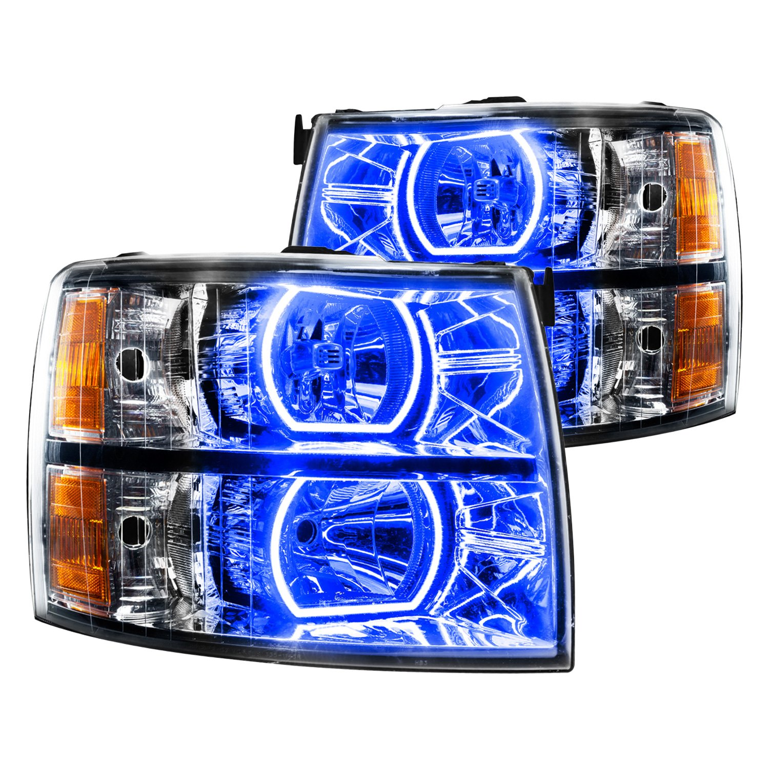Oracle Lighting Chrome Factory Style Headlights With Blue Plasma Led Square Ring Halos Preinstalled
