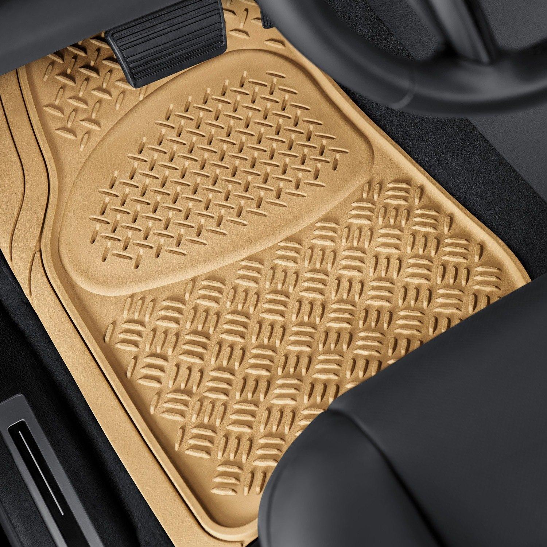 oxgord diamond style 1st u0026 2nd row beige heavy duty rubber floor mats