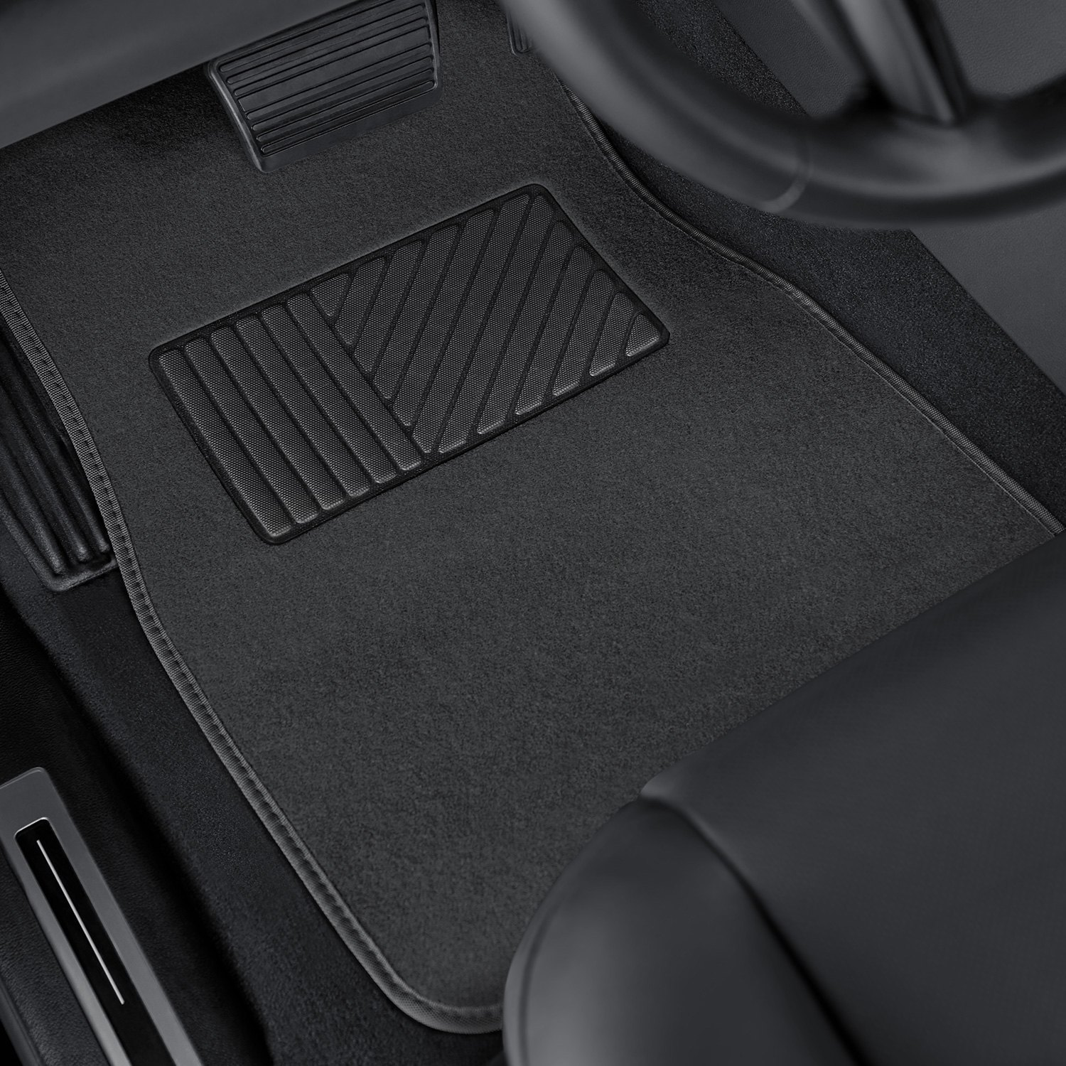 deluxe 1st 2nd row gray heavy duty carpeted floor mats set with heel pad