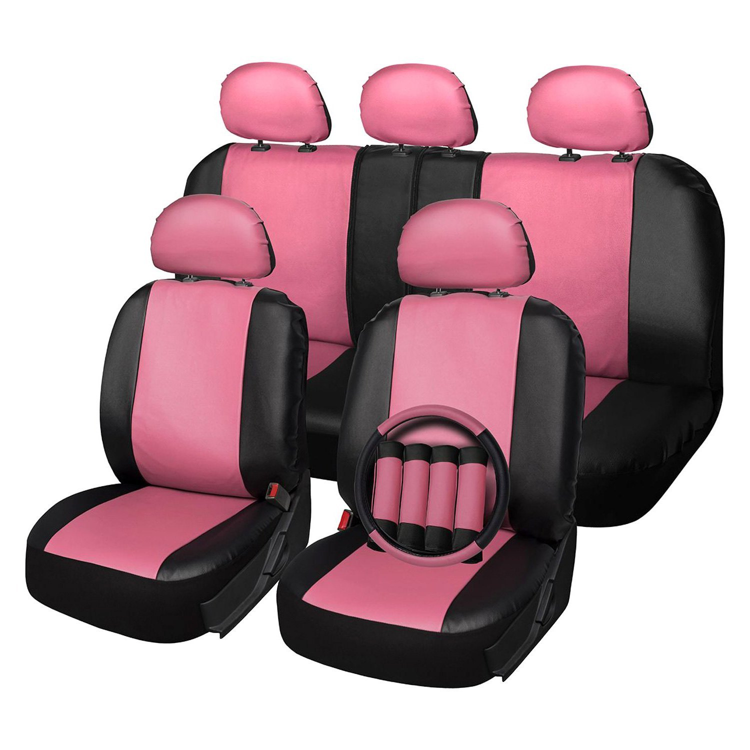 Oxgord Scpu S2a Pk Faux Leather 1st 2nd Row Pink Black Seat