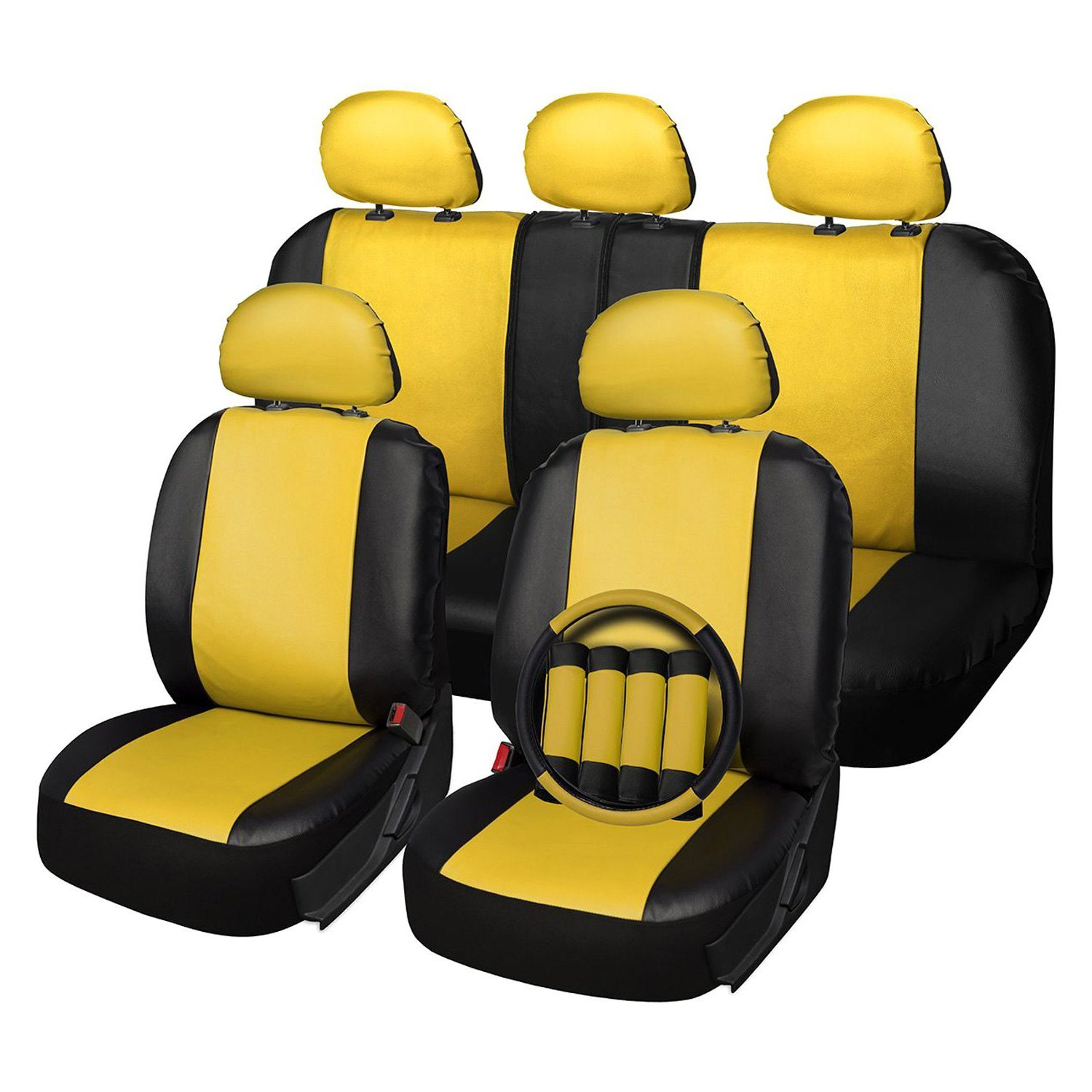 Miraculous Oxgord Scpu S2A Yw Faux Leather 1St 2Nd Row Yellow Black Seat Cover Set Gmtry Best Dining Table And Chair Ideas Images Gmtryco