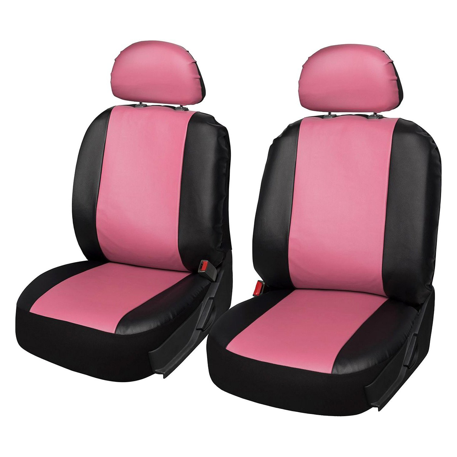 Oxgord Scpu S2b Pk Faux Leather 1st Row Pinkblack Seat Cover Set