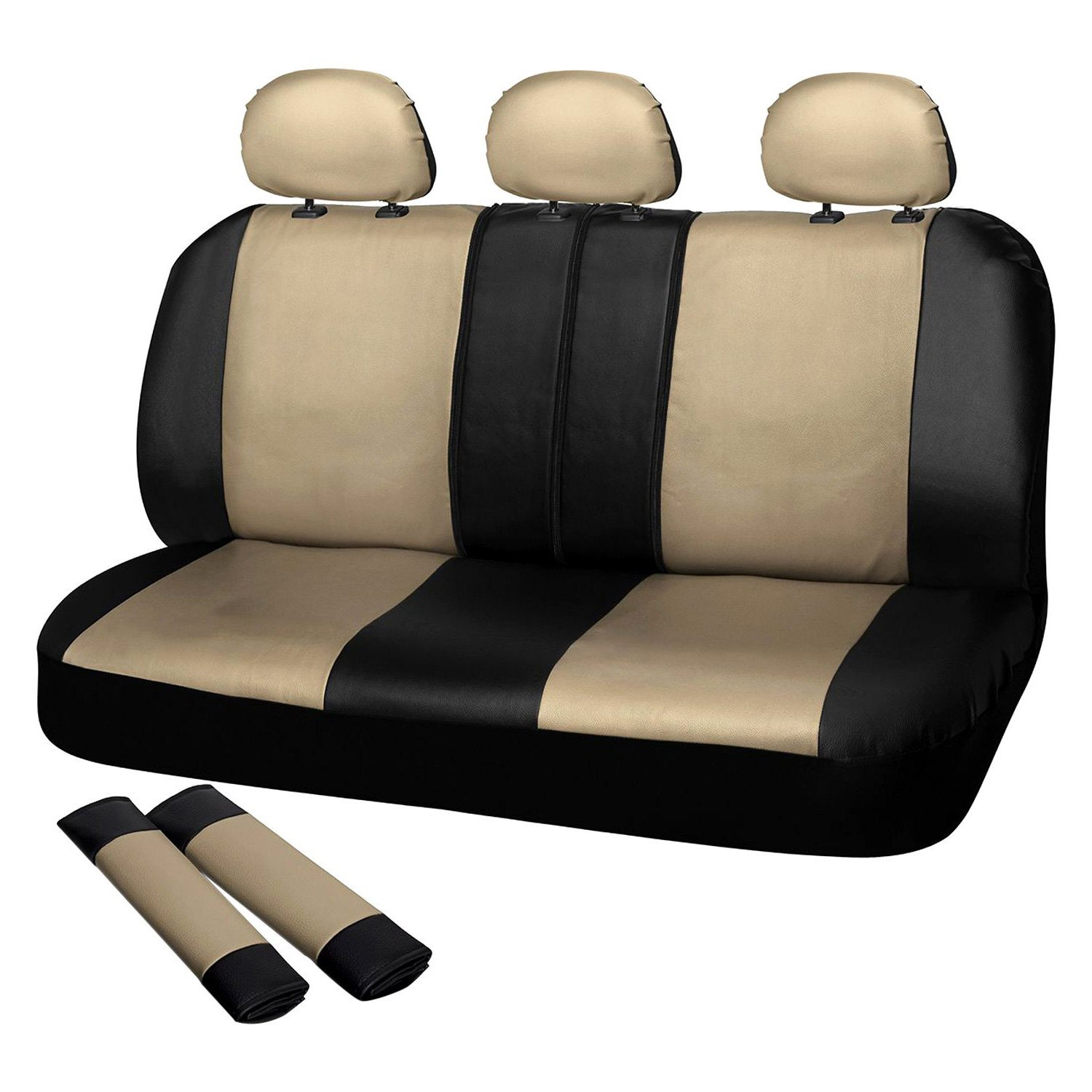 Fine Oxgord Scpu S2D Bg Faux Leather 2Nd Row Beige Black Seat Cover Set Andrewgaddart Wooden Chair Designs For Living Room Andrewgaddartcom