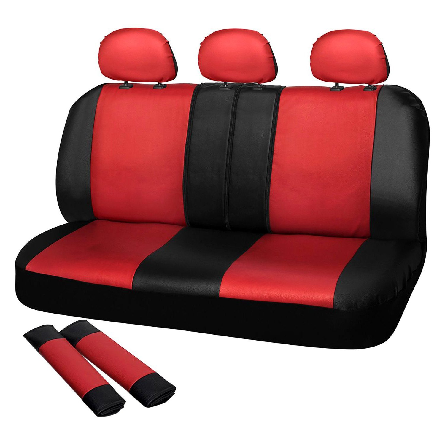 Cool Oxgord Scpu S2D Rd Faux Leather 2Nd Row Red Black Seat Cover Set Gamerscity Chair Design For Home Gamerscityorg