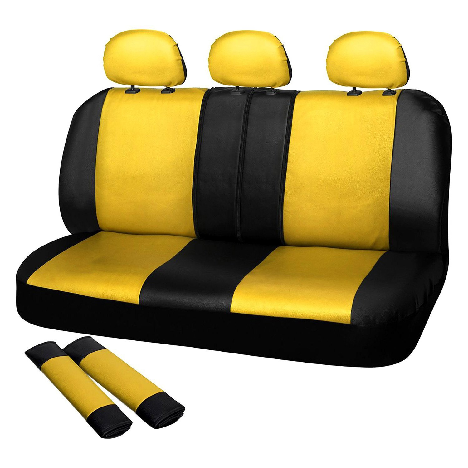 Prime Oxgord Scpu S2D Yw Faux Leather 2Nd Row Yellow Black Seat Cover Set Gamerscity Chair Design For Home Gamerscityorg