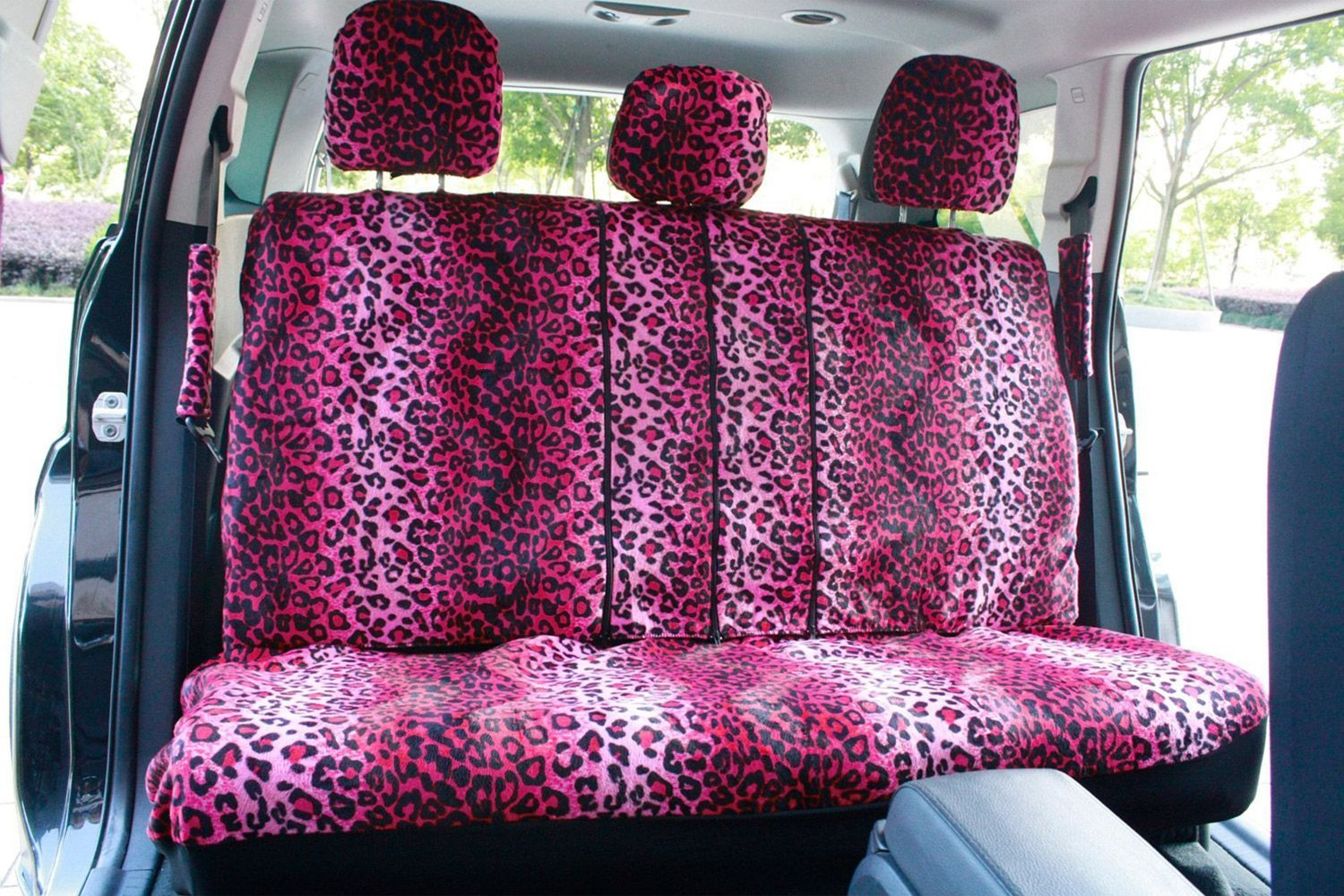 Animal Print Velour 1st 2nd Row Pink Seat Cover SetOxGordR