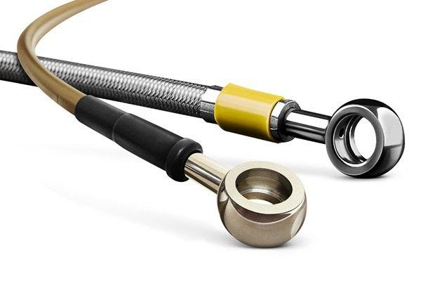 Transparent Hose /& Stainless Banjos Pro Braking PBR9573-CLR-SIL Rear Braided Brake Line