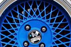 SL1 Matte-Blue Machined Lip 14 inch Wheels on Acura Integra