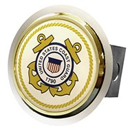 Chrome Hitch Cover with US Coast Guard Logo